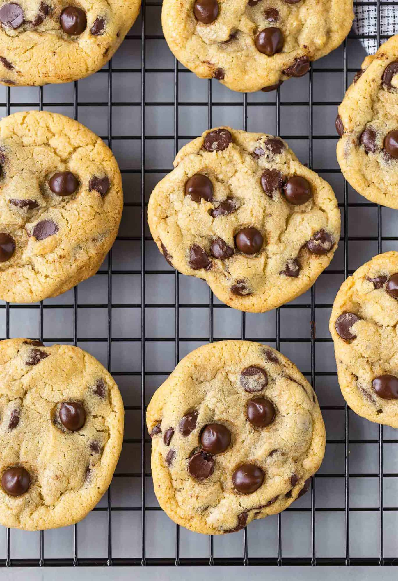 Close-up image of chewy chocolate chip cookies on a cooling rack.