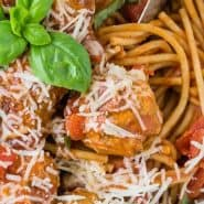 """Pasta in a white bowl, text overlay reads """"Instant Pot Spaghetti and Meatballs, rachelcooks.com"""""""