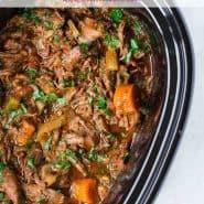 """Pot roast in a crockpot, text overlay reads """"slow cooker italian pot roast, rachelcooks.com"""""""