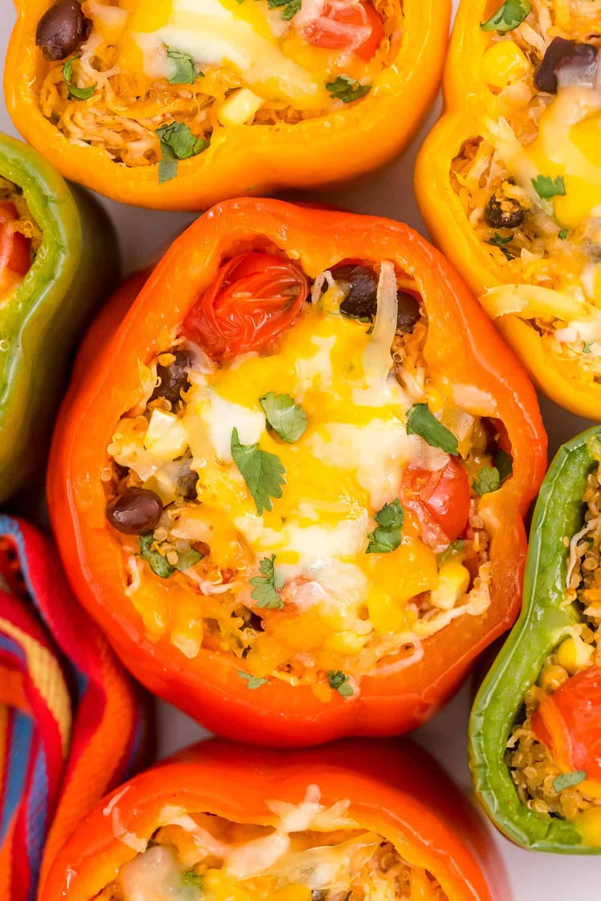 Close up overhead view of bell peppers stuffed with quinoa, chicken, black beans, tomatoes, and cheese.