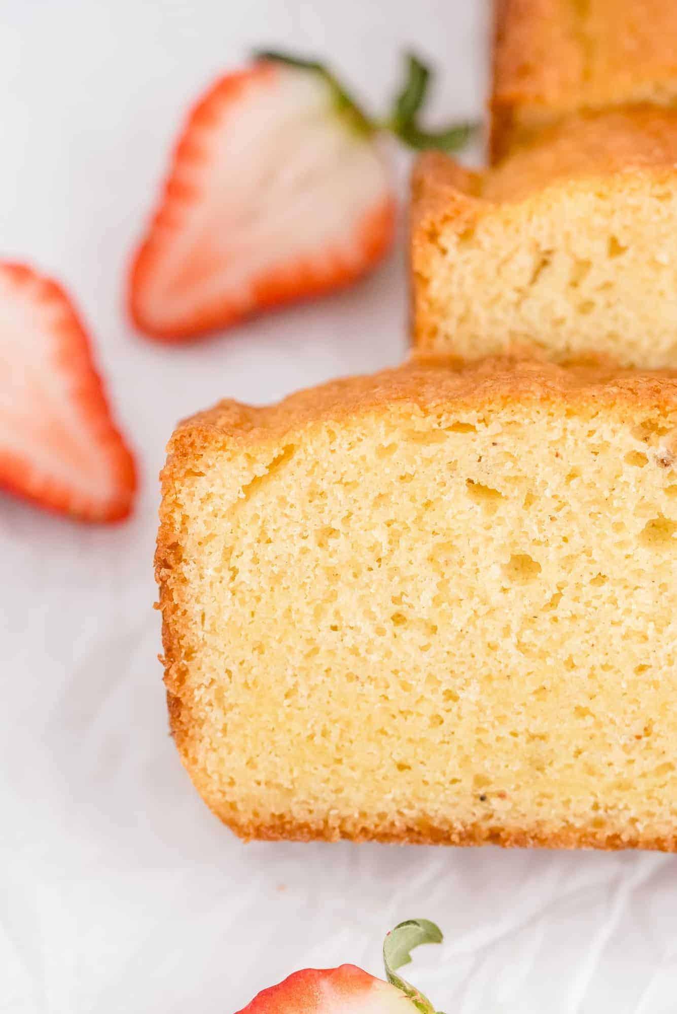 Slices of cake in a loaf format.