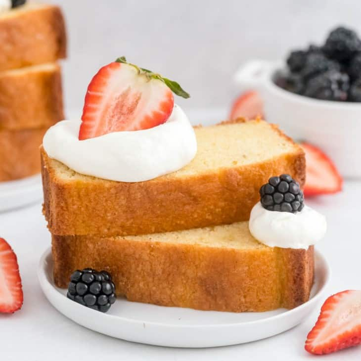 Pound cake layered with berries and whipped cream.