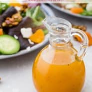 "Bright orange salad dressing in a jar, text overlay reads ""easy apricot vinaigrette dressing, rachelcooks.com"""