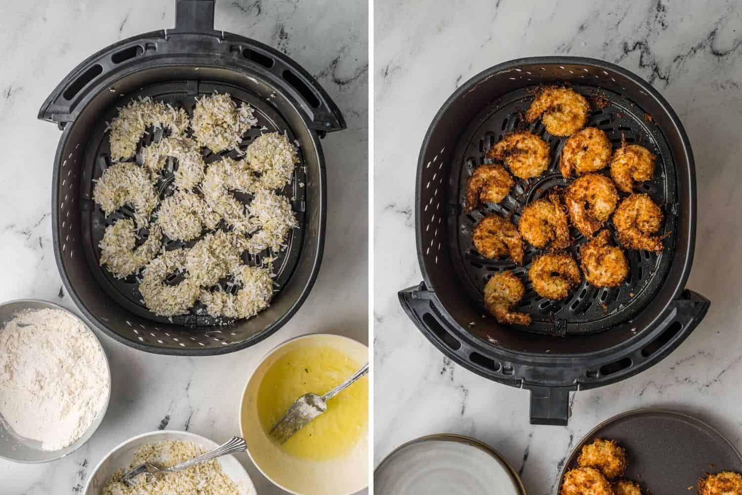 Shrimp in air fryer, uncooked on left, cooked on right side.