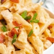 """Pasta in a white bowl, text overlay reads, """"Instant Pot Crack Chicken Pasta, rachelcooks.com"""""""