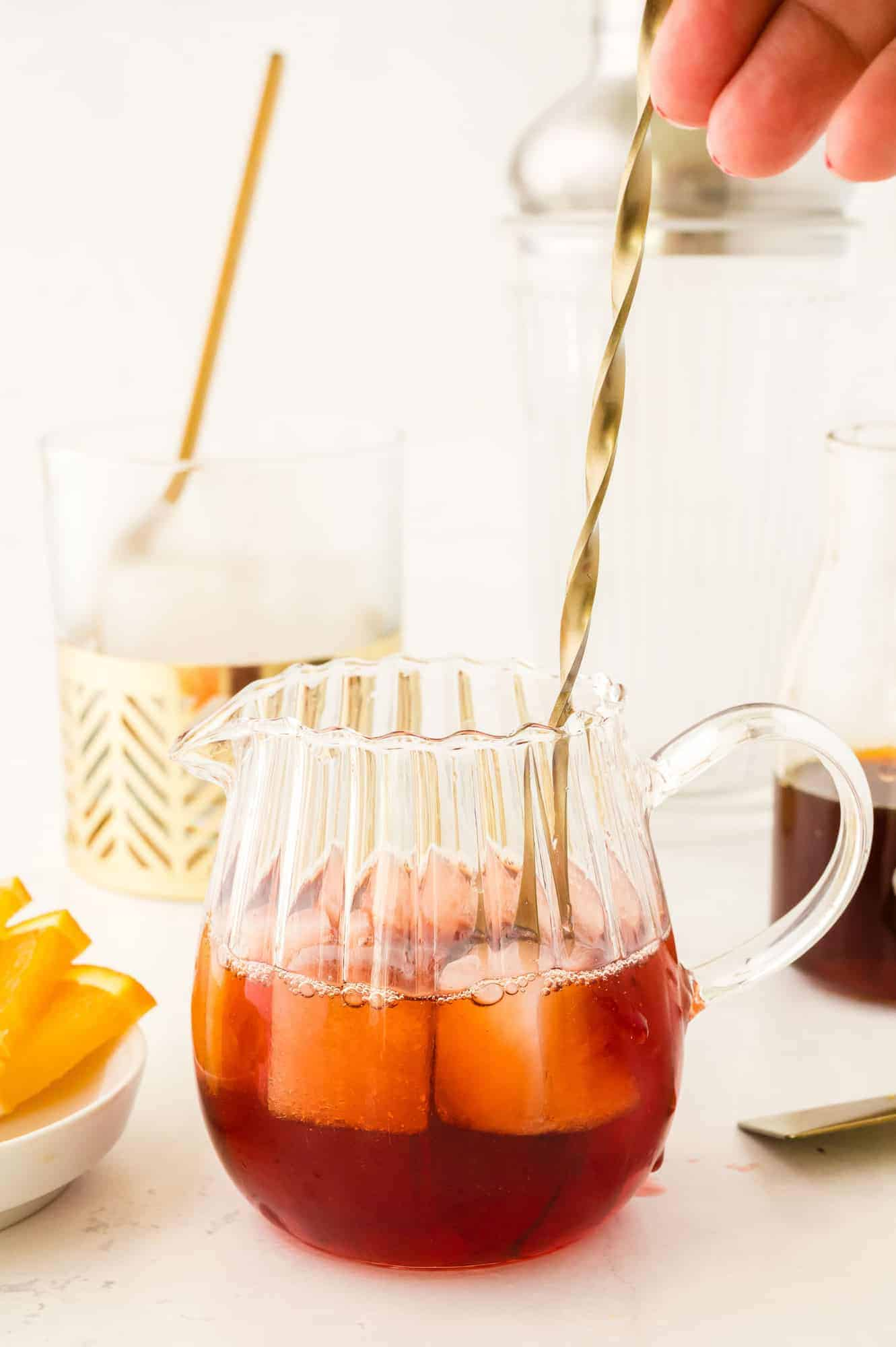 Drink being stirred.