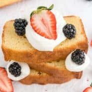 """Cake with fruit and whipped cream, text overlay reads """"the best classic pound cake, rachelcooks.com"""""""