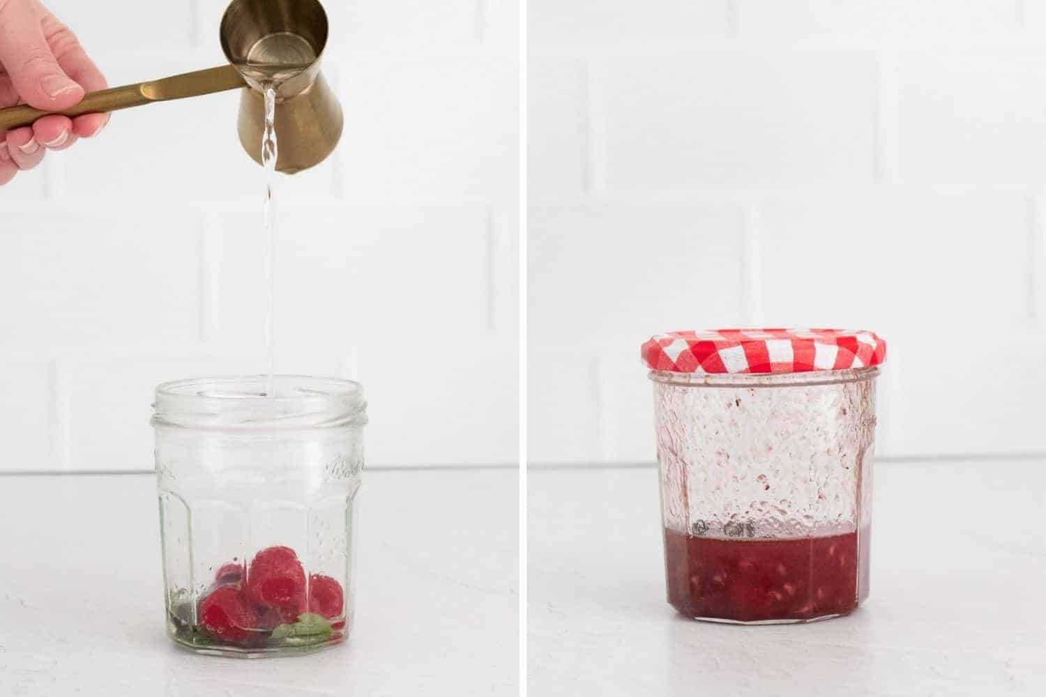 Two images, syrup being poured into a jar with raspberries, and then smashed raspberries in a jar.