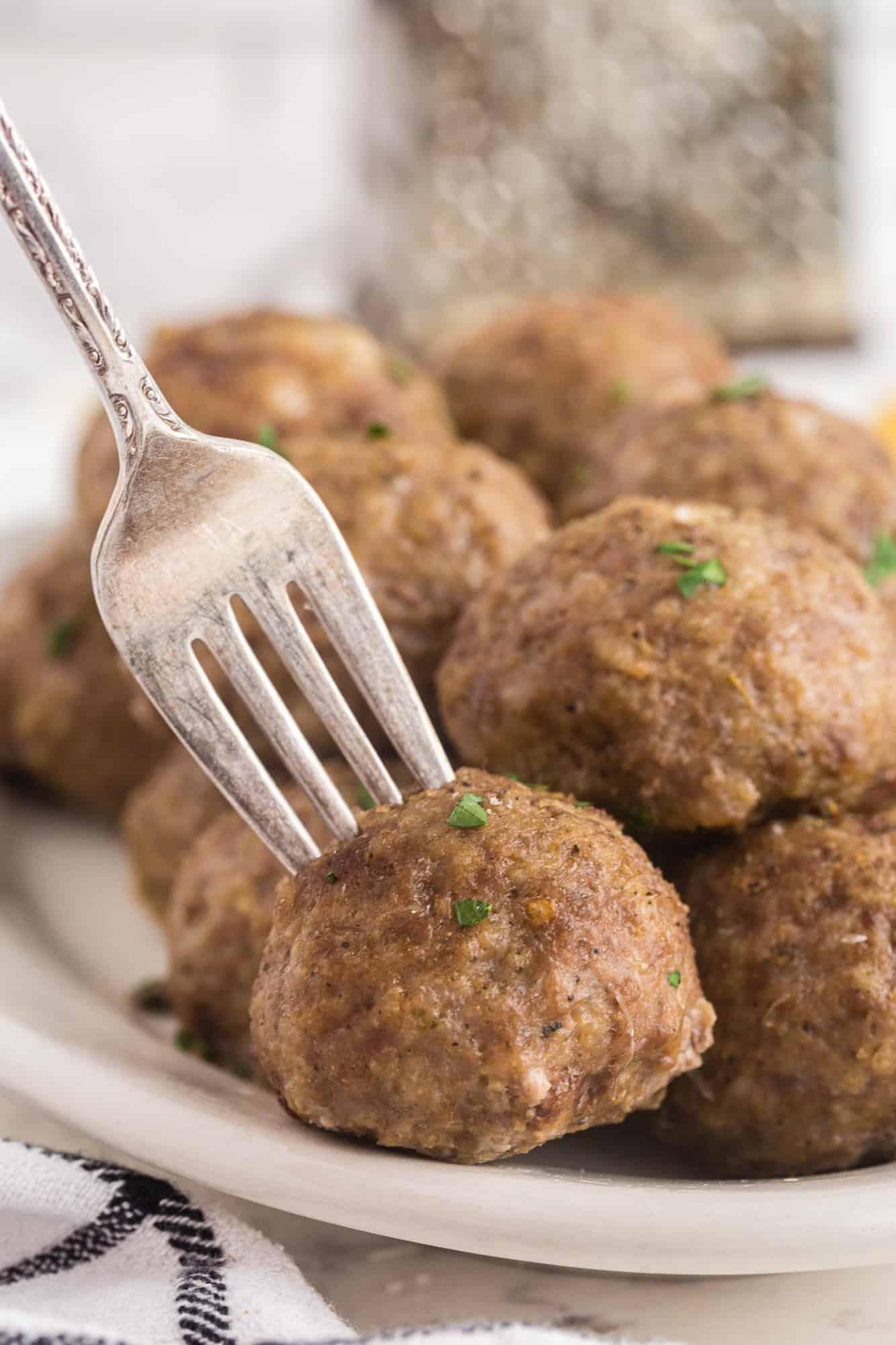 Meatball on a fork.