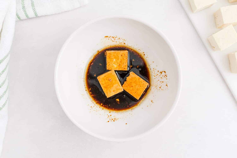 Tofu in marinade.