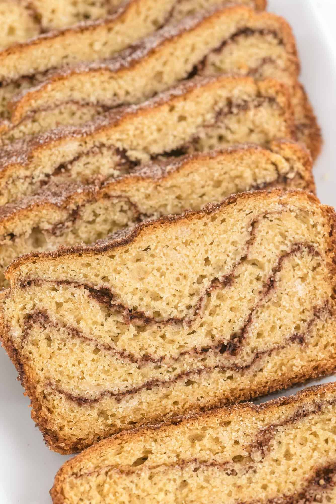 Close up of sliced cinnamon bread.