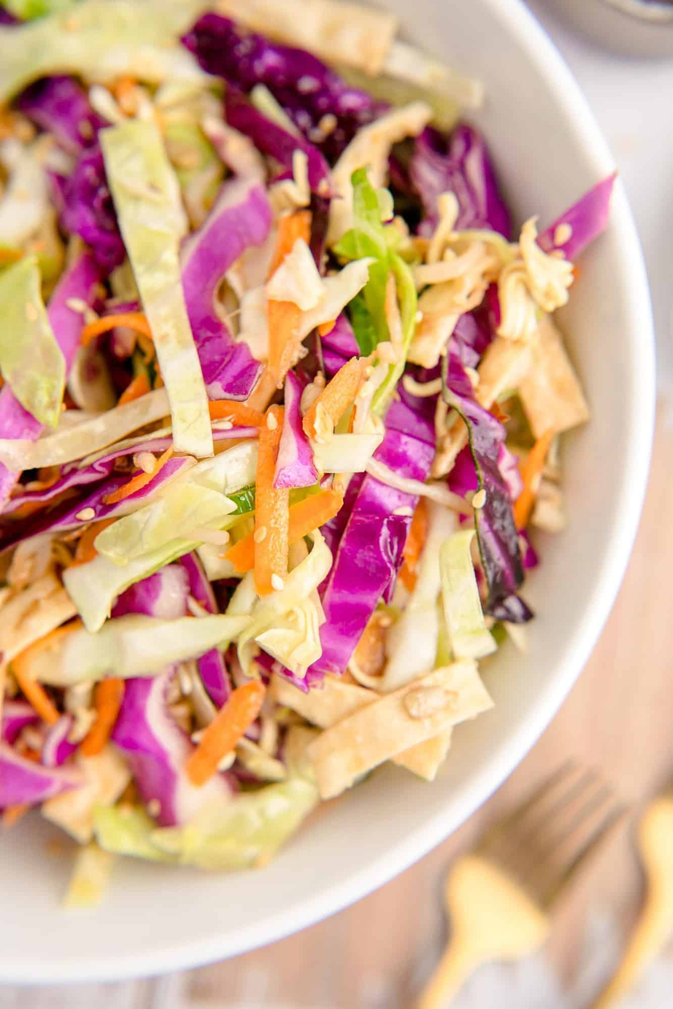 Close up of cabbage, wonton strips, carrots and more in a white bowl.