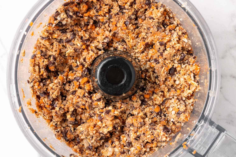 Black bean mixture in a food processor.