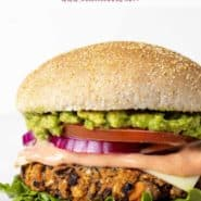 """Burger with a text overlay that reads """"the best black bean burgers."""""""