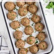 "Meatball with no sauce, text overlay reads ""the best homemade meatballs, rachelcooks.com"""