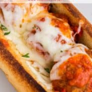 "Cheesy meatballs in a bun, text overlay reads ""the best meatball subs, rachelcooks.com"""