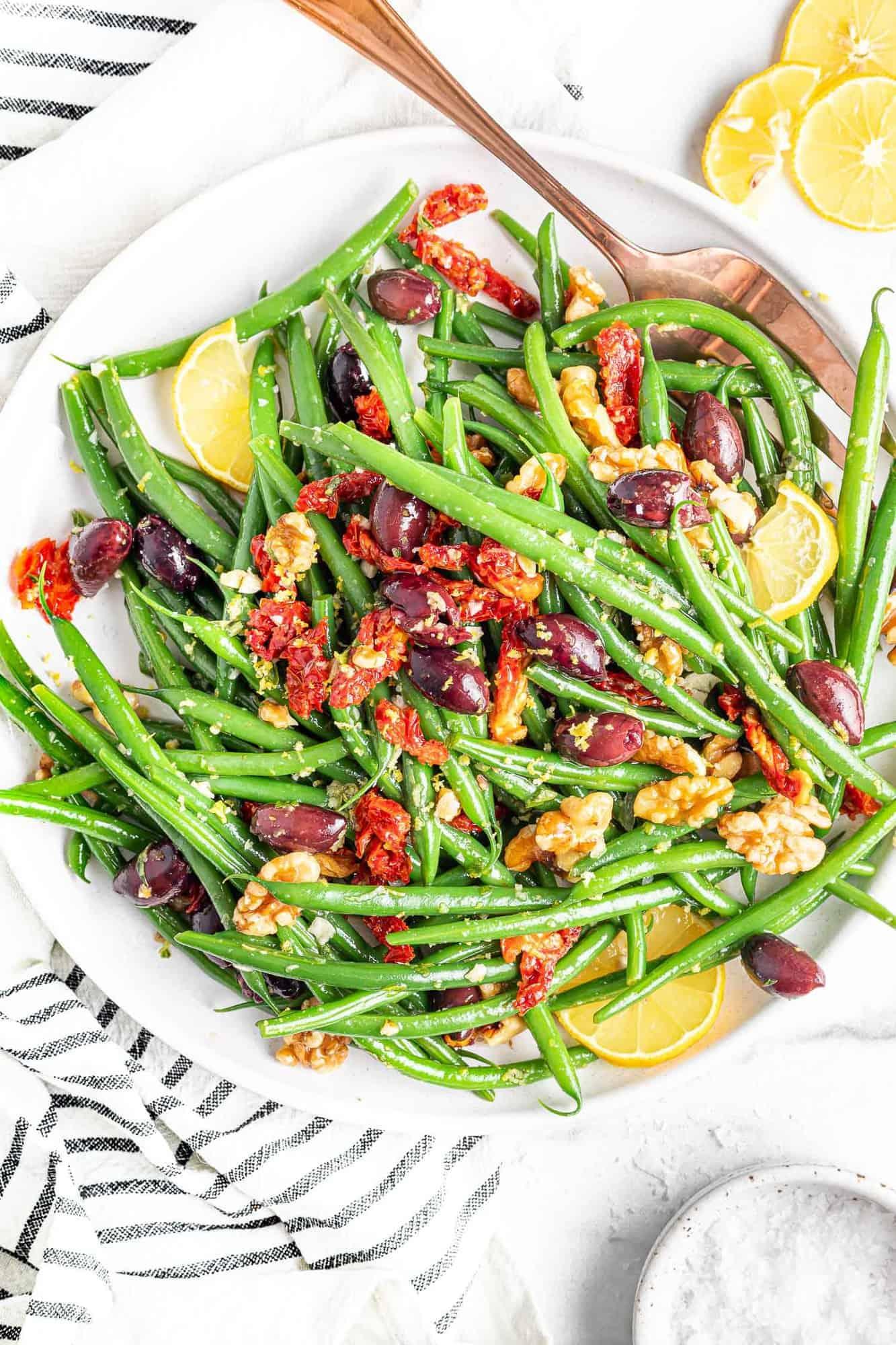 Green bean salad with kalamata olives, walnuts, and sun dried tomatoes.