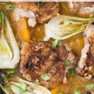 """Chicken and oranges, text overlay reads """"orange chicken thighs with bok choy, rachelcooks.com"""""""