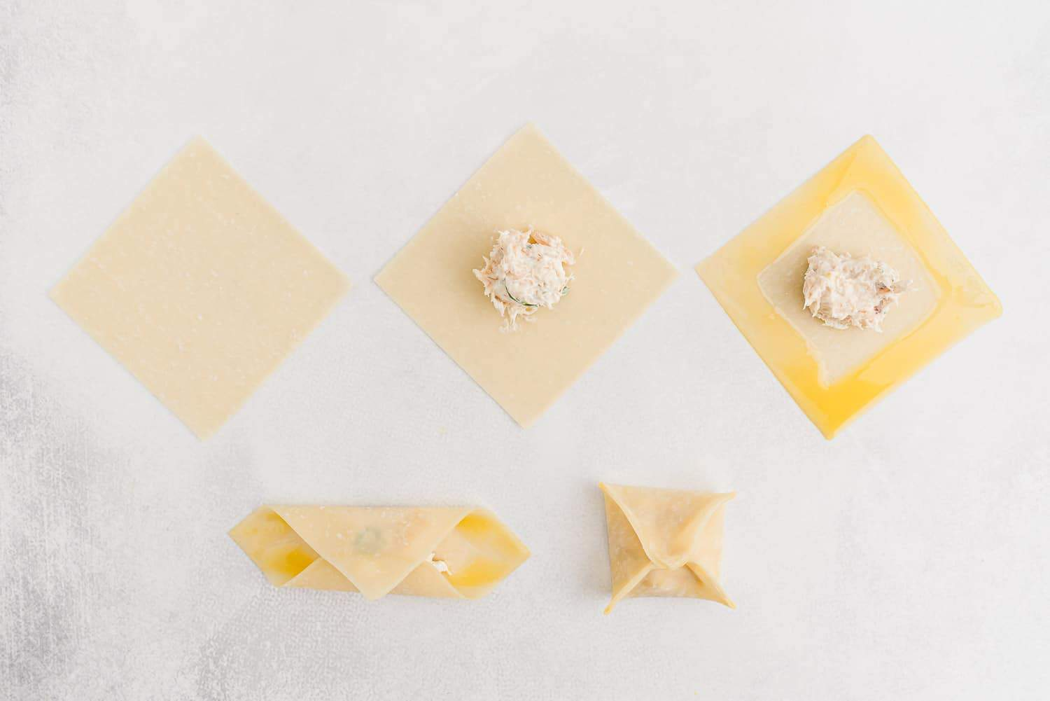Step by step of how to fold a rangoon.