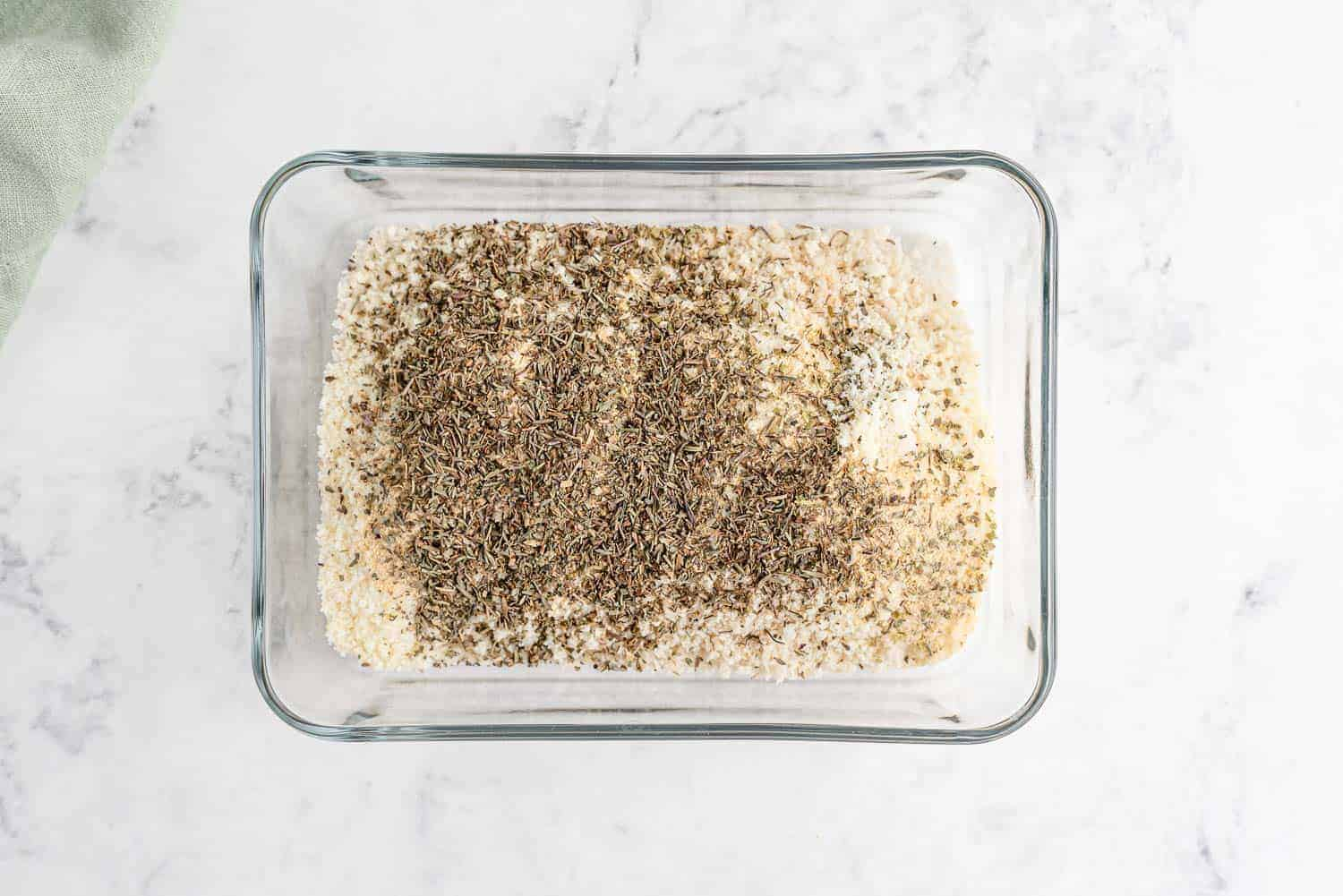 Panko bread crumbs mixed with dried herbs.