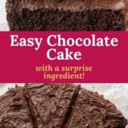 """Slice of cake, text overlay reads, """"easy chocolate cake."""""""