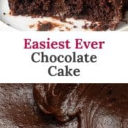 """Slice of cake, text overlay reads, """"easiest ever chocolate cake."""""""