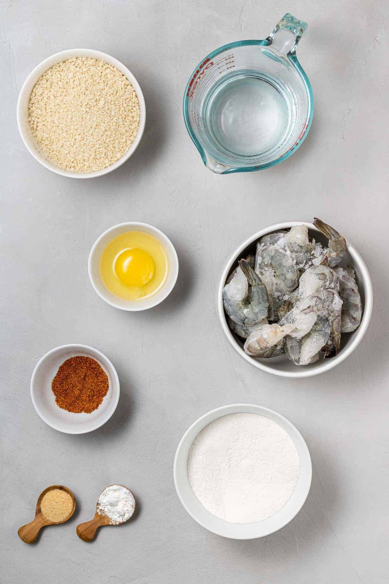 Overhead view of ingredients needed, including raw shrimp.