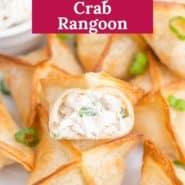 "Crab rangoon, text overlay reads ""the best air fryer crab rangoon."""