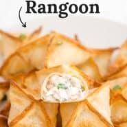 "Crab rangoon, text overlay reads ""air fryer crab rangoon."""