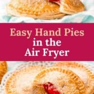 """Photos of small pies, text overlay reads """"air fryer cherry hand pies, pancakerecipes.com."""""""