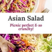 """Two images, text overlay reads """"asian salad, picnic perfect & so crunchy!"""""""