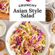 """Salad in a white bowl, text overlay reads """"crunch asian style salad."""""""