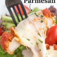"""Chicken, text overlay reads """"healthy chicken parmesan."""""""