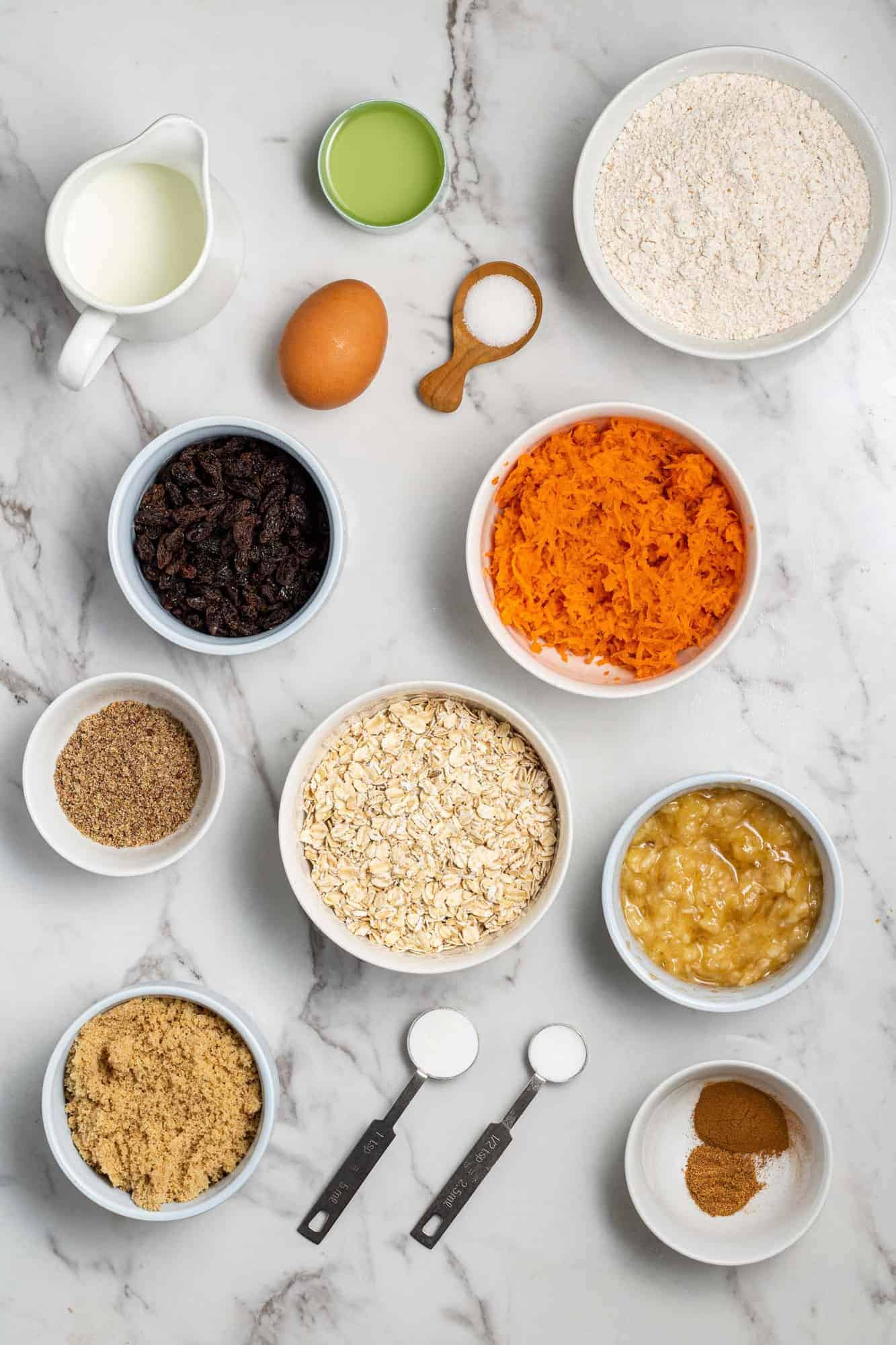 Overhead view of ingredients used in recipe.