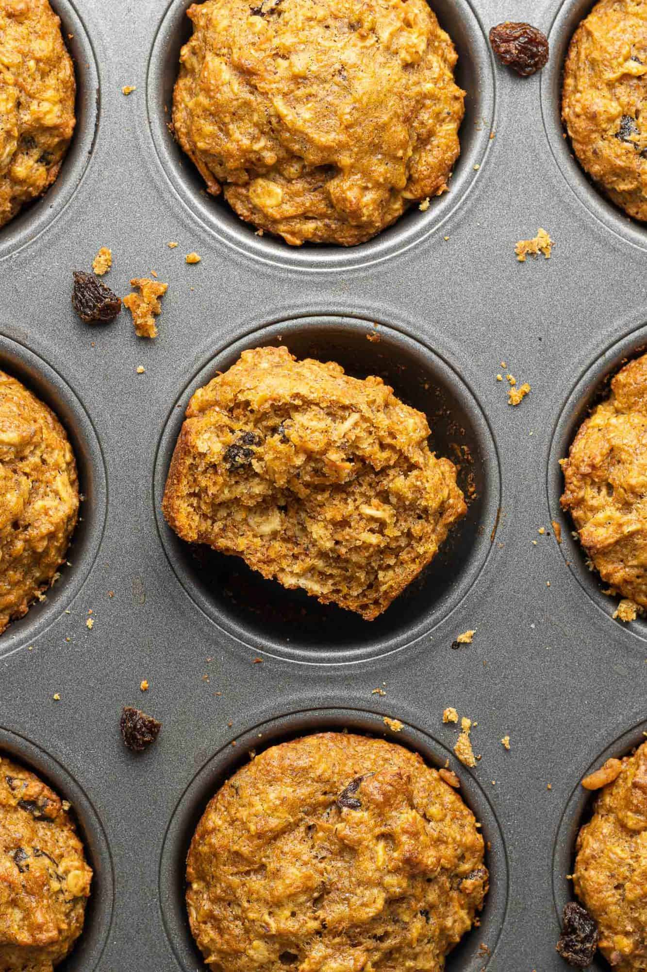 Overhead view of muffins in a metal muffin tin.