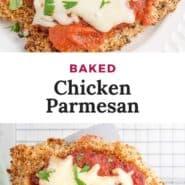 "Chicken, text overlay reads ""baked chicken parmesan."""