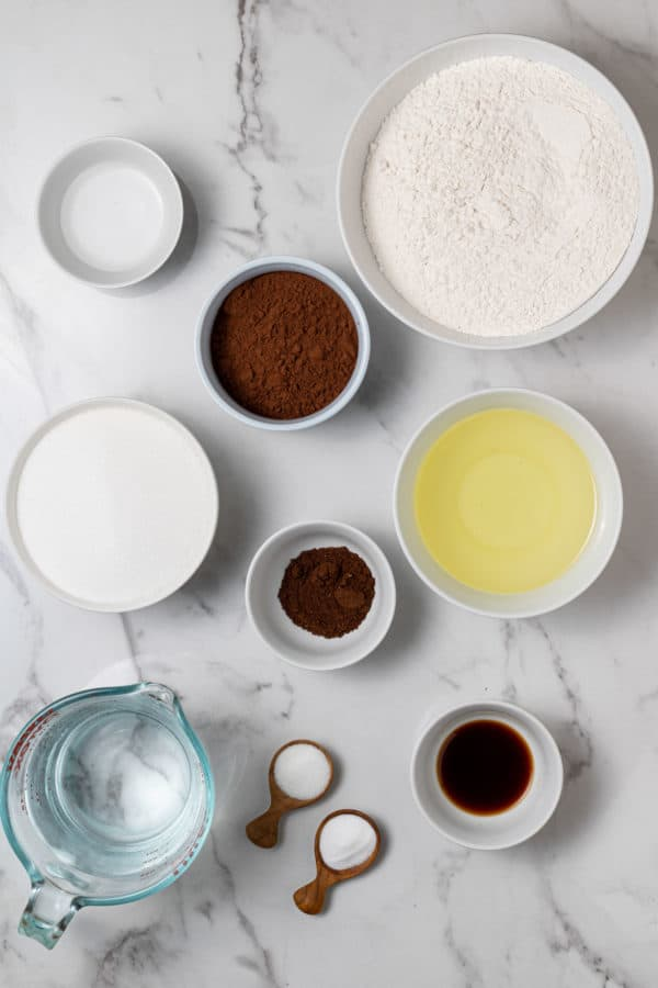 Overhead view of ingredients in small bowls.