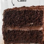 """Slice of cake, text overlay reads, """"easiest chocolate cake."""""""