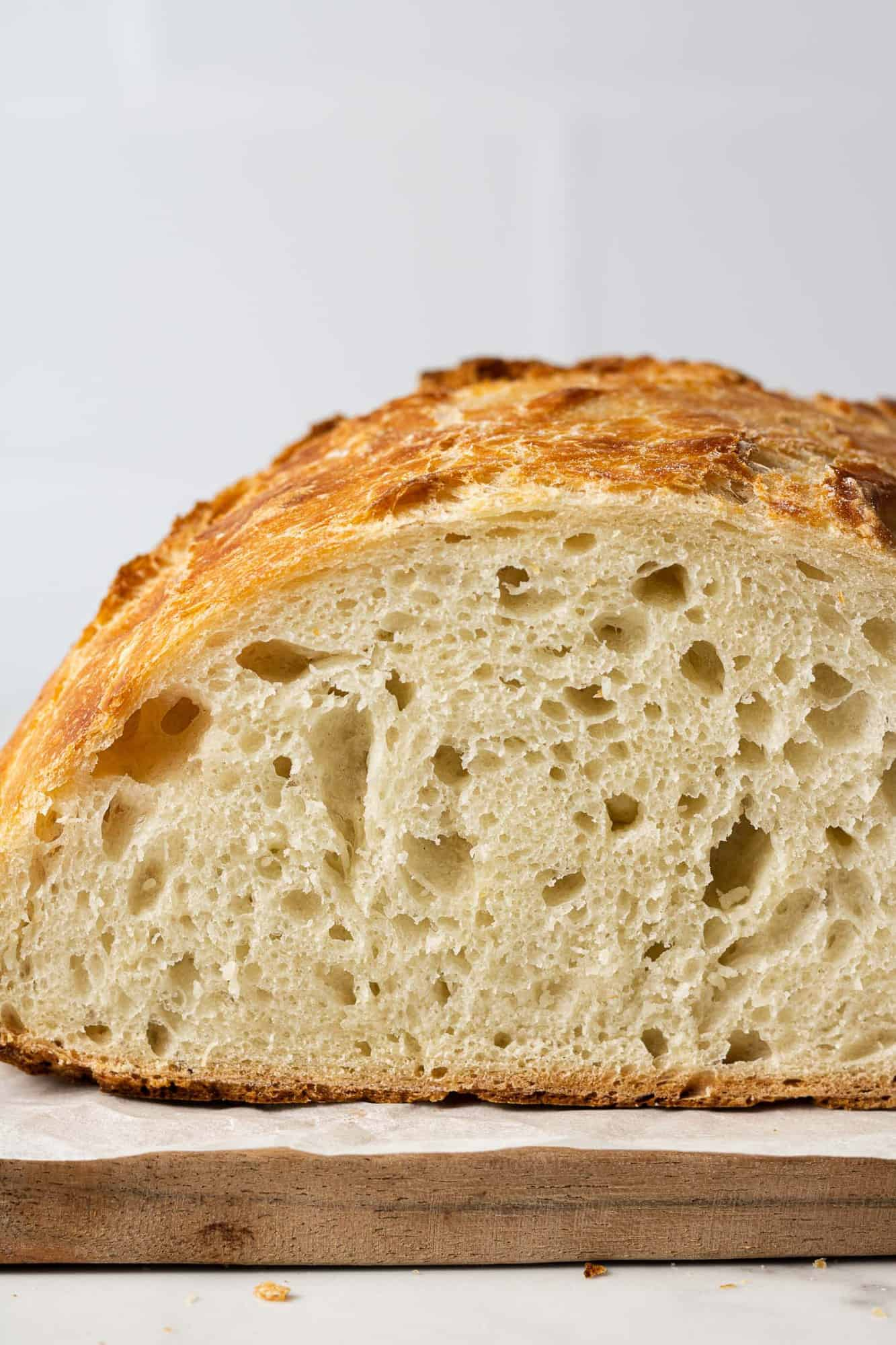 Cut bread to show crumb and texture.