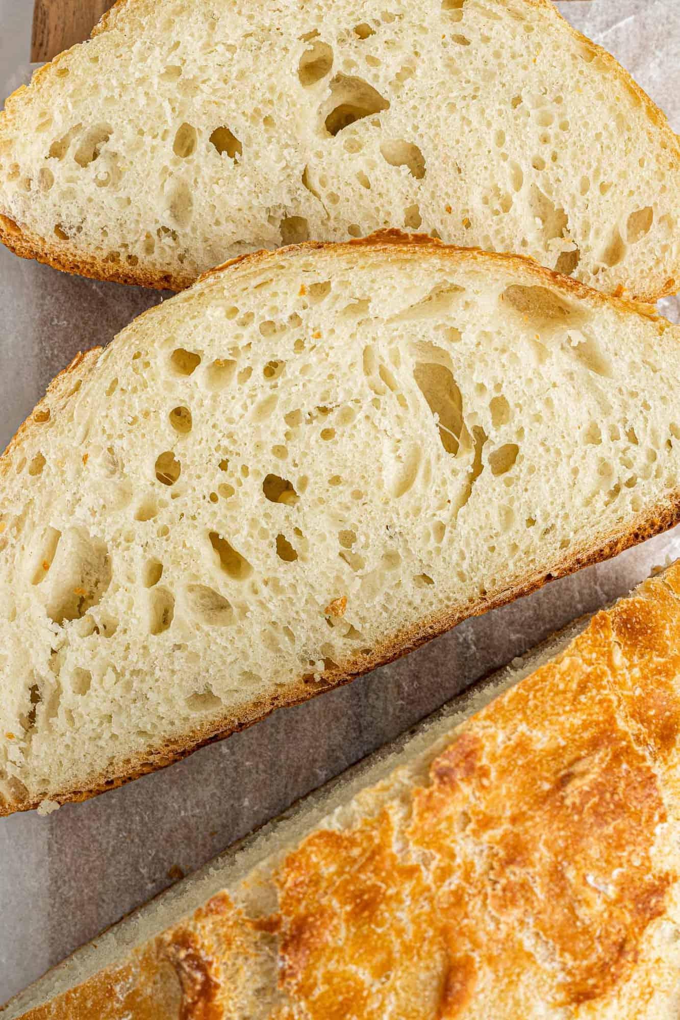 Overhead view of sliced artisan bread.