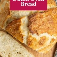 """OVerheaed view of bread, text overlay reads """"the best dutch oven bread."""""""