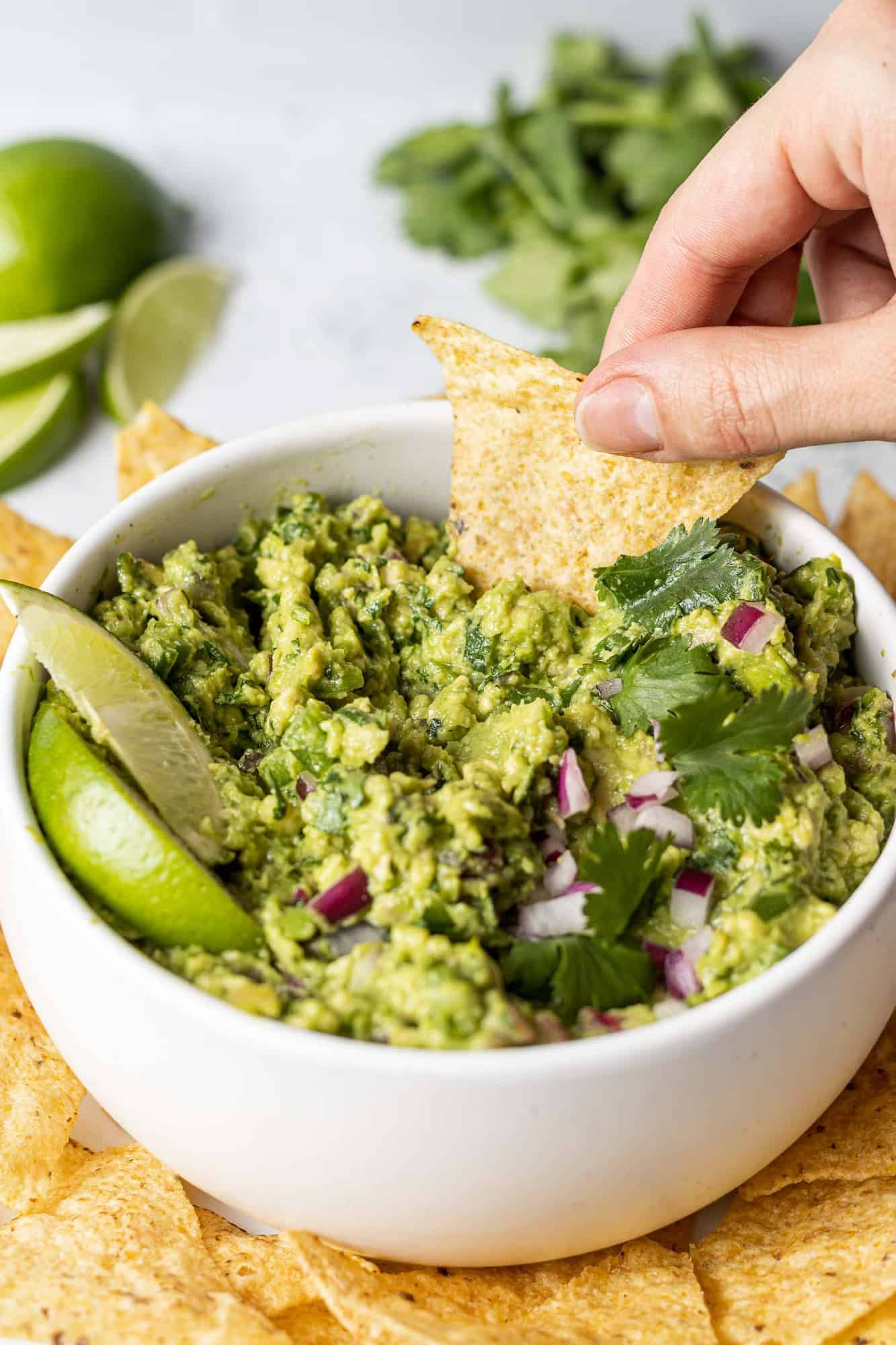Chip being dipped into a bowl of guacamole.