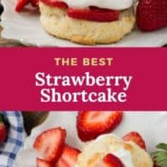 """Strawberry shortcake, text overlay reads """"the best strawberry shortcakes."""""""