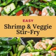 """Two images of shrimp and vegetables, text overlay reads """"easy shrimp & veggie stir-fry"""""""