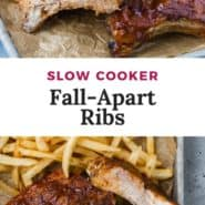 """Two photos of ribs, text overlay reads """"slow cooker fall-apart ribs."""""""