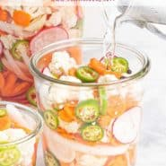 """Vegetables in a jar, text overlay reads """"spicy pickled vegetables, rachelcooks.com"""""""