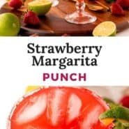 """Red iced drink, text overlay reads """"strawberry margarita punch."""""""