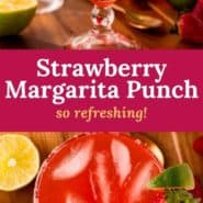 """Red iced drink, text overlay reads """"strawberry margarita punch - so refreshing!"""""""