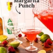 """Red iced drink, text overlay reads """"refreshing strawberry margarita punch."""""""
