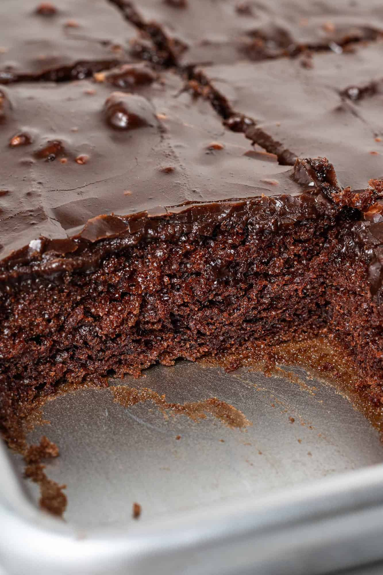 Close up of chocolate cake, showing textre.